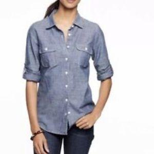 J. Crew The Perfect Shirt Denim Blouse